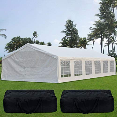 Quictent 20' x 40' Upgraded Galvanized Heavy Duty Gazebo Party Wedding Tent Canopy Carport Shelter with Carry Bags(20x40, White)