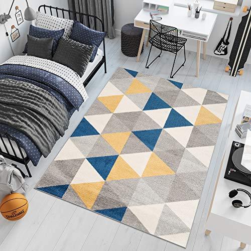 TAPISO Lazur Tapis de Salon Chambre Ado Design Moderne Gris Crème Jaune Bleu Triangles Géométrique Frise 80 x 150 cm