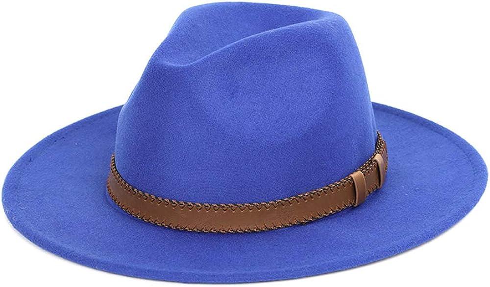 L.W.SUSL 2 Size Wool Fedora Hat with Leather Ribbon Jazz Church Panama Sombrero Cap
