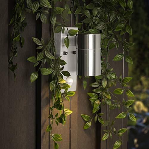 Smartwares GU10 Fassung Aussen-/ Wandleuchte, mit Bewegungsmelder, Edelstahl, Downlight 7 x 1,5 x 16,5 cm