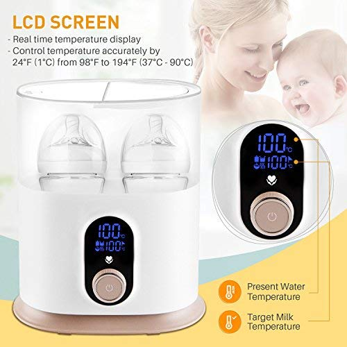 Babebay Baby Bottle Warmer, Deluxe Bottle Sterilizer & Smart Thermostat 4 in 1, Evenly Warm Breast Milk or Formula, Real-time Temperature,LCD Monitor,Fast Heating [2018 Most Genius Gifts]