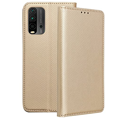 Compatible con Xiaomi Redmi 9T y también para Poco M3 Funda de Tapa Tipo Libro con Solapa Tarjetero y posición para Visualizar Videos en Negro Dorado o Azul (Oro Dorado)