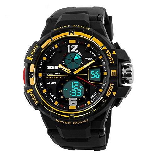 Ulanda Herren Jugendliche Jungen Multifunktions Digital Analog Sportuhr Männer Wasserdicht Elektronisch Militär LED Digital Uhr mit Stoppuhr Männlich Armee Armbanduhr (Gelb)