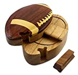 Football, All Natural Exotic Woods Puzzle Box, 5.5 x 3.5 x 2.25' with Sliding Wooden Key Lock, Sliding Cover and Inner Lid to Hidden Compartment. Hand-made Wood Onlay Design on Lid.