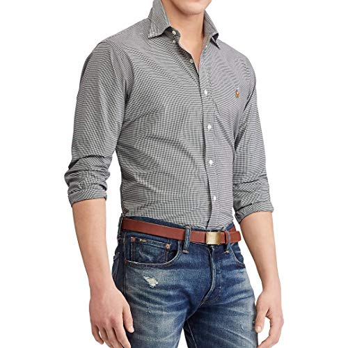 Ralph Lauren Camisa Classic Slim Fit (M, Checkered Grey)