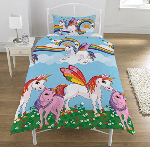 NEW Rainbow & Unicorns Reversible Bedding Set - Single