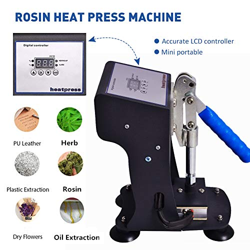 Heat Press Machine, Mini Manual Rosin Hot Presser 2x3'', 1000lbs 300W LCD Controller