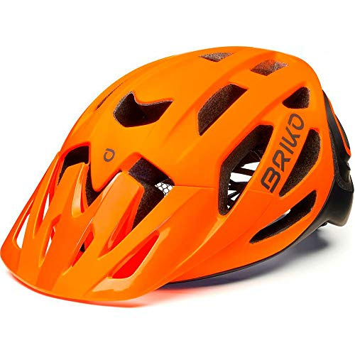 Briko Sismic Casco Ciclismo, Adultos Unisex, Orange Fluor Black, Medium