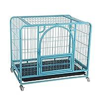 金属クレート子犬キャリアトレーニングケージ金属製の自動ドアロッククレート4つのキャスターでトレイをベッド (Color : 青, Size : 78×53×73cm)