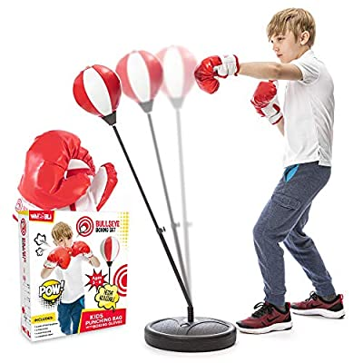 whoobli Punching Bag for Kids Incl Boxing Gloves | 3-8 Years Old Adjustable Kids Punching Bag with Stand | Boxing Bag Set Toy for Boys & Girls