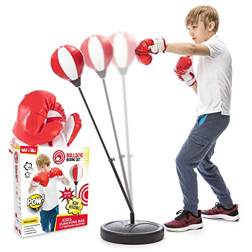 whoobli Punching Bag for Kids Incl Boxing Gloves | 3-8 Years Old Adjustable Kids Punching Bag with...