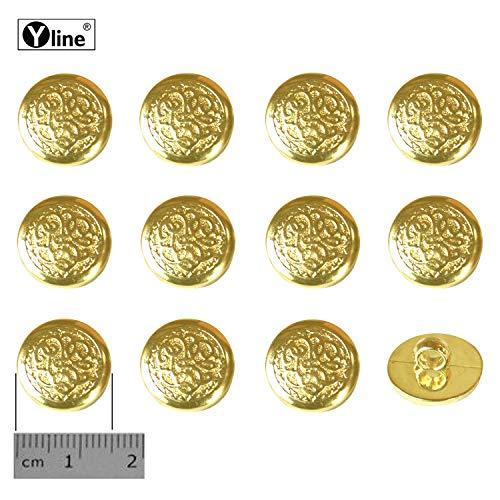12 oogknoppen, kunststof goudkleurig 15 mm, voor het naaien van oogjes blouses kostuum sieraad knop, 3127-01-2.0