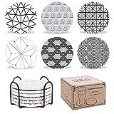 SueH Design Sottobicchieri per Bevande in Pietra Ceramica Assorbente con Supporto   Set di...
