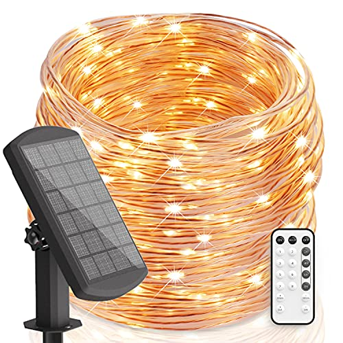 30m/100Ft Garden Lights Solar Fairy Lights Outdoor with Remote Timer IP67 Waterproof 8 Modes 300LEDs Solar Lights Rope Lights Solar Powered String Lights for Garden Patio Home Christmas, Warm White