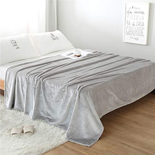 Monba Weiche Plüsch-Flanell-Überwurfdecke für Sofa/Stühle/Bett – groß, leicht, warm & gemütlich, superweiche, flauschige Tagesdecke, Silbergrau, 200 x 230 cm