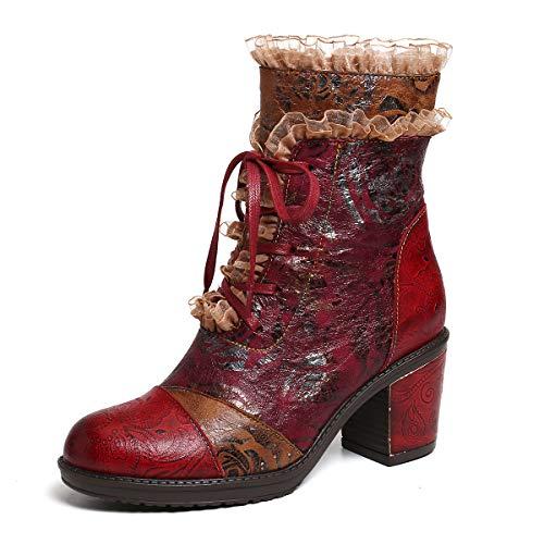 gracosy Damen Stiefeletten Retro Ethno Rot Einzigartig Exquisit Handgefertigt Leder Booties Spleißmuster mit Spitze Blockabsatz Stiefel Vibrant Bequem, Rot (rot), 42 EU