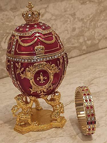 Lion FABERGE Egg Jewelry Box style 24kt GOLD HANDMADE Royal Coronation 4ct Russian Egg Fabergé Trinket box 6.5' Russian Egg 200 SWAROVSKI Crystal HANDSET Diamonds Matching bracelet 2ct Ruby Jewellery