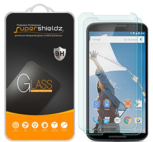 (2 Pack) Supershieldz for Nexus 6 Tempered Glass Screen Protector, Anti Scratch, Bubble Free