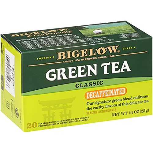 Bigelow Decaffeinated Green Tea Bags, 20 Count Box (Pack of 6) Decaf Green Tea, 120 Tea Bags Total
