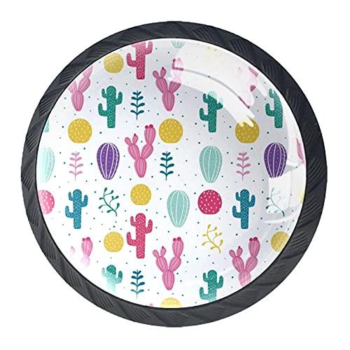 Caricatura colorida del patrón de cactus de la planta del desierto, perilla de gabinete de cajón de alta calidad, paquete de 4 para oficina, hogar, cocina, gabinete de baño aparador