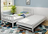 Panana 2 in 1 <span class='highlight'>Single</span> Bed Frame, <span class='highlight'>3FT</span> <span class='highlight'>Pine</span> Wooden Bed base Bedroom Furniture For Adults, Kids Teenagers (White)