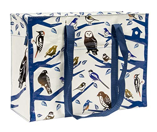 Blue Q Shoulder Tote, Birdland. The carry-everywhere bag that features a hefty zipper, exterior pocket, wrap-around straps, reinforced floor. Made from 95% recycled material, 11h x 15w x 6.25d
