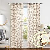 jinchan Moroccan Tile Print Curtains for Living Room Quatrefoil Flax Linen Blend Textured Geometry Lattice Grommet Window Treatment Set for Bedroom 50' W x 90' L 2 Panels Taupe