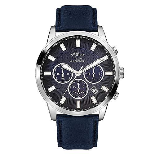 s.Oliver Time Herren-Armbanduhr SO-3336-LC, dunkelblau