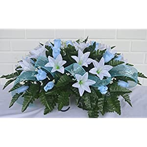 3118 Beautiful Spring Cemetery Arrangement, Headstone Saddle, Grave, Tombstone Arrangement, Cemetery Flowers