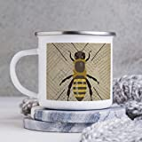 Divertente tazza da caffè smaltata, 283,5 ml, con motivo a nido d'ape, calabrone invertebrato vespa Hornet, tazza da caffè, tazza da caffè, tazza per San Valentino e compleanno
