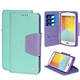 PimpCase Compatible with LG Tribute Case, Transpyre VS810PP, MS395, LS660, Optimus F60, Mint Purple Synthetic Leather [Flip Wallet Cover] with Magnetic Closure Kickstand