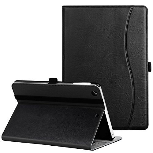 Ztotop iPad Mini 1/2/3 Case, Leather Folio Stand Protective Case Smart Cover with Multi-Angle Viewing, Pocket, Functional Elastic Strap for iPad Mini 3/ Mini 2/ Mini 1 - Black