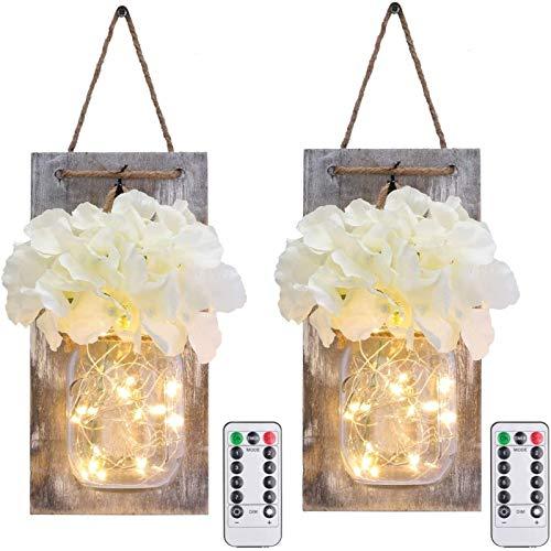 Glighone 2 Stück LED Lichterkette, Vintage Mason Jar Wandleuchte Licht mit künstlicher Blume Holz-Dekoration, Rustikale Wandlampe String Licht für Halloween, Hochzeits Schlafzimmer Wand Dekoration