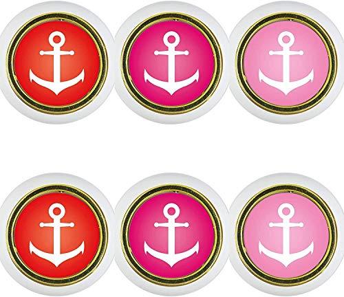 Kunststoff Möbelknopf Möbelgriff Möbelknauf 6er Set KST1018W Anker rosa pink rot Kleine Universal Möbelknöpfe Schrank, Schublade, Kommode, Tür, Küche, Bad, Haushalt Kinder Kinderzimmer