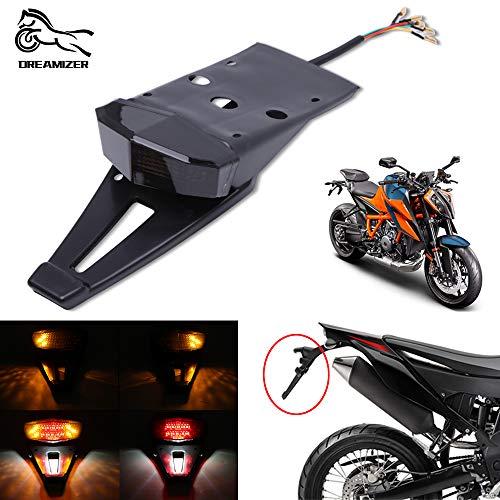DREAMIZER Motorrad hinten Kotflügel Bremslicht,Universal 12V LED Motorrad Rücklicht für Motocross Offroad Dirt Bike 125SX 450SX CRF250 400 450 WR125R WR250R YZ125 YZ250F(Rauch)