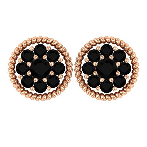 Pendientes de diamante negro de 0,20 quilates con cúmulo de flores, pendientes de oro, pendientes de cóctel, 18K Oro rosa, Par
