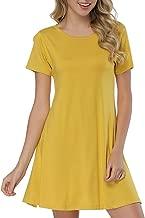 JOYMODE Women's Short Dress Sleeve Casual Swing Bamboo T-Shirt Comfy Short Dresses