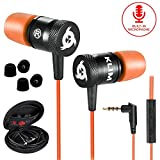KLIM Fusion - Auriculares con micrófono para móvil + Garantía 5 años + Innovadora Espuma de Memoria + Jack 3,5 mm + Compatibles con Smartphone, Tablet, Consola, PC - Nueva Versión 2020 - Naranja