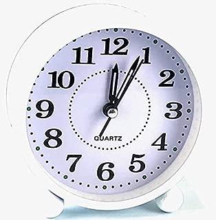 Eqons Classic Round Desk Alarm Clock Quiet Quartz Movement (White)