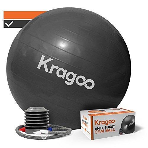 Kragoo - Ballon de Gym - Gros Ballon Grossesse - Anti-éclatement et Anti-dérapant - avec Gonfleur Inclus - en PVC Épais - pour Fitness, Pilates, Stretching, Yoga - Coloris Noir, Diamètre 65 cm