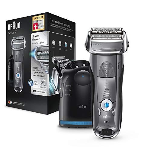 Braun Series 7 7865cc Elektrorasierer – kabelloser, elektrischer Herren Rasierer für Nass- und Trockenrasur mit Reiseetui, anthrazit / grau