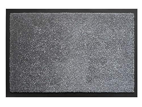 Fußmatte Schmutzfang-Matte FLASH – Grau mit Glitzer-Fäden, 50 x 80 cm, Waschbare, Rutschfeste, Pflegeleichte Eingangsmatte, Sauberlauf-Matte, Türvorleger für Innen & Außen