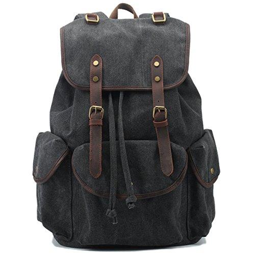 BAOSHA CN-01 Stilvolle Canvas Vintage Rucksäcke Damen Herren Schulrucksack Retro Backpack für Campus Studenten und Outdoor Reisen Wandern mit Großer Kapazität (Schwarz)