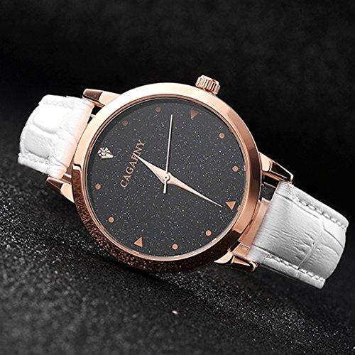Schöne Uhren, CAGARNY 6875 Round Dial wasserdicht Sternenhimmel Muster Mode Frauen Quarz-Armbanduhr mit Lederband ( Farbe : Weiß )