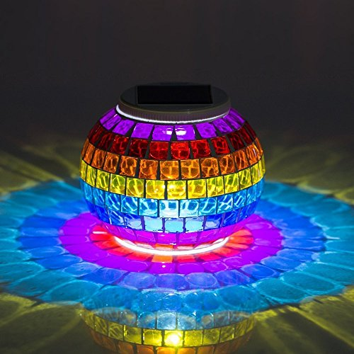 Solar Powered Mosaic Glass, MerryNine Solar Table Lamp Color Changing Glass LED Rechargeable Solar Night Lamp Waterproof Solar Outdoor Lights for Home,Yard, Patio, Party Decorations (Grilles-Rainbow)