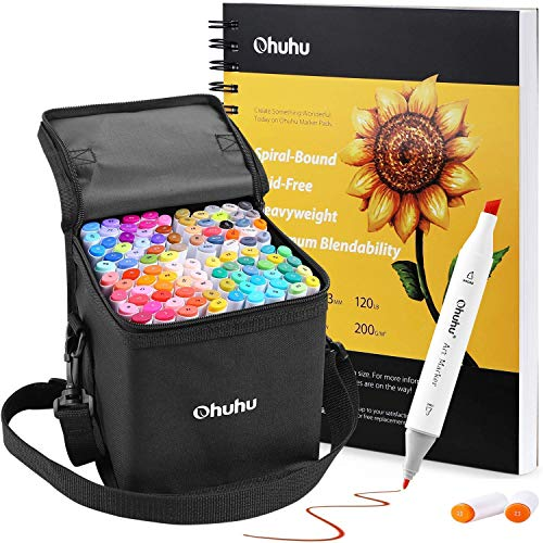 """Ohuhu 100 Colors Alcohol Art Markers (Fine & Chisel, Bonus 1 Colorless Blender) + 7.6"""" ×10"""" Spiral Bound Marker Pads Art Sketchbook, 120LB/200GSM Heavy Smooth Drawing Papers, 60 Sheets/120 Pages"""
