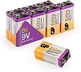 9V - Set da 8 Batterie | GP Extra | Pile Alcaline 9 Volt/Transistor - Lunga Durata…