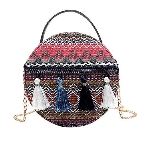 Demarkt – Bolso de playa, bolso cruzado con borlas, colgante, bolsa de playa, bolso de mano, bolso de mano, bolso de mano para mujer, azul (Azul) - 11AM1017XX
