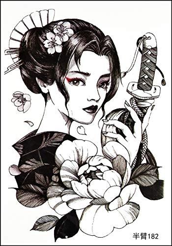 GS912 Tattoo, 20,3 x 14,5 cm, für Mädchen, Geisha, separates Schwert, Samurai, große Tattoos, modische temporäre Tattoos, abnehmbar, wasserdicht, für Damen, Teenager, Mädchen (11)