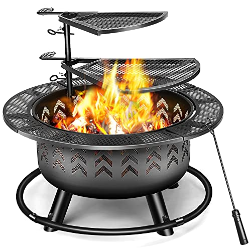 2 in 1 Outdoor Fire Pits with Double Layer Cooking Grill, 32' Thicken Bonfire FirePits for Outside Wood Burning with Fireplace Poker for Backyard Garden Patio Heating, Camping and BBQ